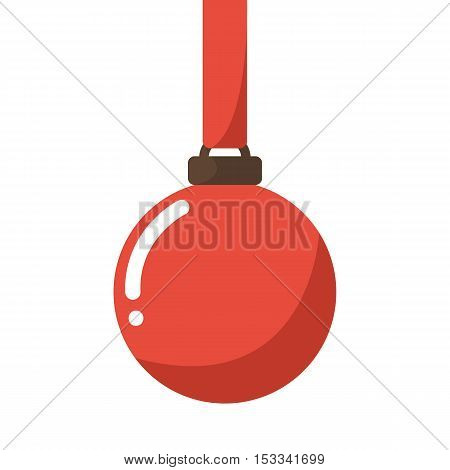 Christmas symbol. Christmas ornament with red ribbon .