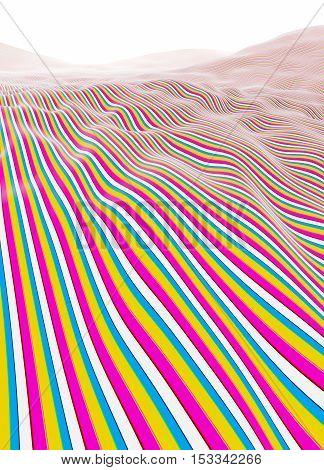 Colorful lines stripes mountains fading to white horizon illustration