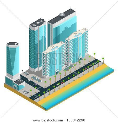 Isometric city composition with modern skyscrapers and many storeyed houses on sea coast on white background vector illustration