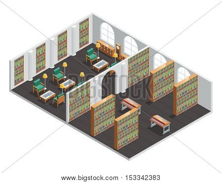 Isometric interior for empty bookstore and library rooms with bookshelves and armchairs vector illustration