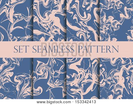 Marbling Seamless Pattern Set. Watercolor Marbling Illustration. Colors: Riverside And Pale Dogwood.