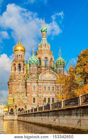 Cathedral of Our Savior on Spilled Blood and Griboedov channel in Saint Petersburg Russia. Architecture autumn landscape of Saint Petersburg Orthodox landmark
