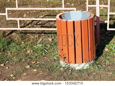 wooden container for rubbish Rubbish box in the park