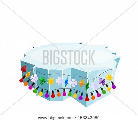 Holiday floe. Vector illustration of an ice floe with festive garlands. Decorative lanterns lights snowflakes. Element of design and decoration