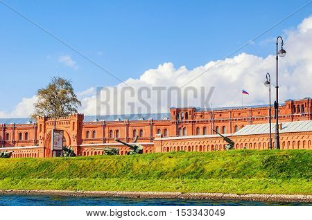 SAINT PETERSBURG RUSSIA - OCTOBER 3 2016. Military Historical Museum of Artillery Engineers and Signal Corps and military weapon exhibits in the open air in Saint Petersburg Russia