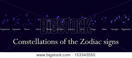 Zodiac Signs. Constellations Of The Zodiac Signs, Horoscope. Star Cluster. Vector Illustrations.