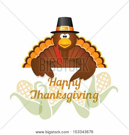 Happy Thanksgiving with turkey and harvest corn