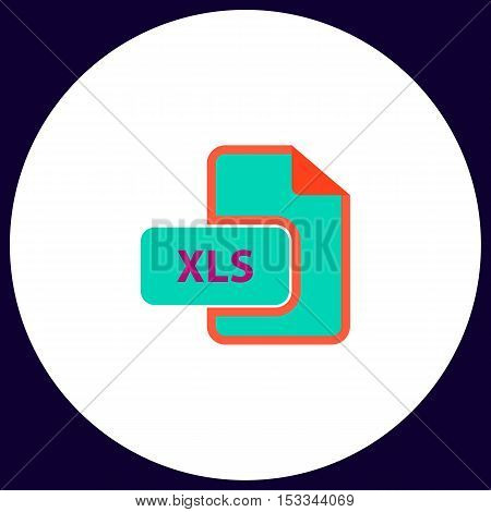 XLS Simple vector button. Illustration symbol. Color flat icon
