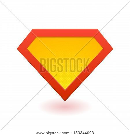 Superhero logo template. Red, yellow and orange. Vector isolated eps10