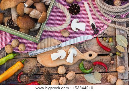 Still Life: Pieces Of White Mushrooms, Peppers And Spices