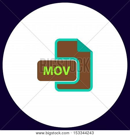 MOV Simple vector button. Illustration symbol. Color flat icon