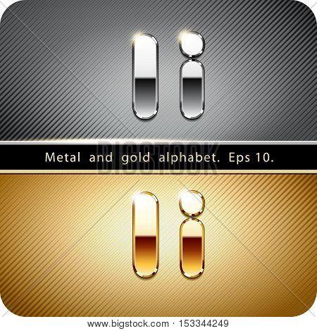 "3d Joyful set of chrome metal and gold vector alphabet. The letter ""I"".Eps 10."