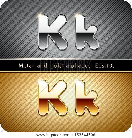 "3d Joyful set of chrome metal and gold vector alphabet. The letter ""K"".Eps 10."