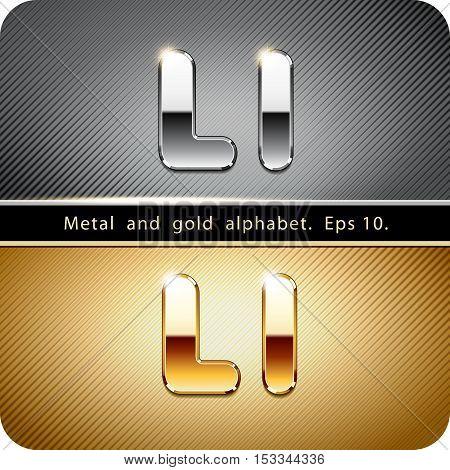 "3d Joyful set of chrome metal and gold vector alphabet. The letter ""L"".Eps 10."