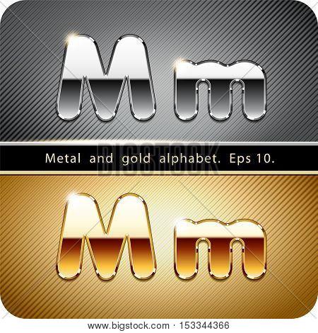 "3d Joyful set of chrome metal and gold vector alphabet. The letter ""M"".Eps 10."