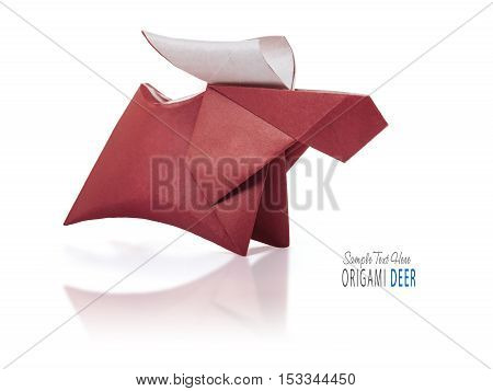 Origami paper brown winter christmas running deer on a white background
