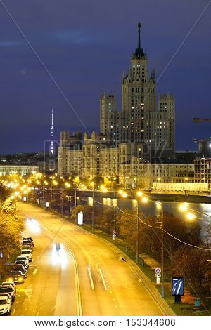 Moscow, Russia - October, 15, 2016: night traffic in Moscow, Russia