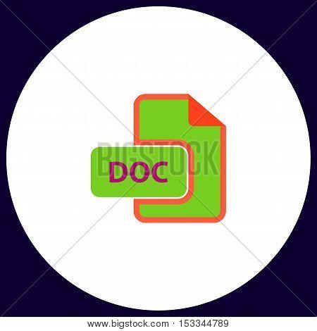 DOC Simple vector button. Illustration symbol. Color flat icon