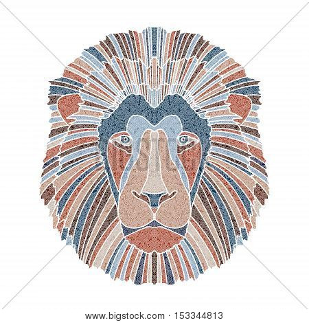 Bright patterned lion head, zodiac Leo sign for astrological predestination and horoscope