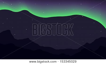 Bright polar lights and mountains. Somple background with 16 9 aspect ratio. Template, vector, eps 10