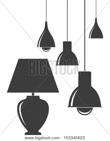 Isolated lamps on white background. (EPS 10)