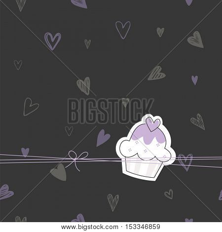 Cupcake design element. For greeting cards, birthday, invitation, stickers, labels. Cute design element.