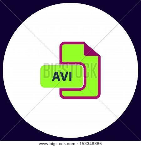 AVI Simple vector button. Illustration symbol. Color flat icon