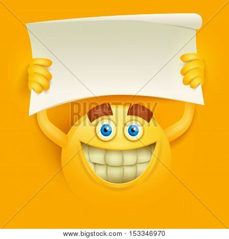 Happy smiley yellow round face with paper banner in hands. Vector illustration
