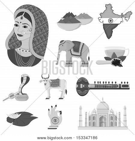 India set icons in monochrome style. Big collection of India vector symbol stock