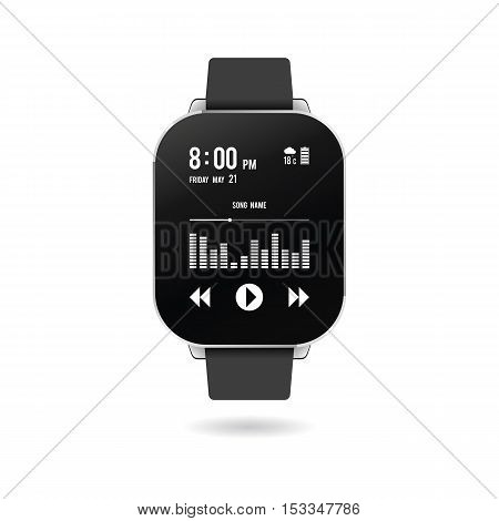 Realistic smart watch with a picture on the display as an example of some of the features. Vector illustration.