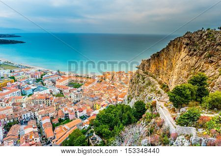 Areal view of Cefalu, Italy. Beautiful photo of sicilian coastline. Colorful travel background.