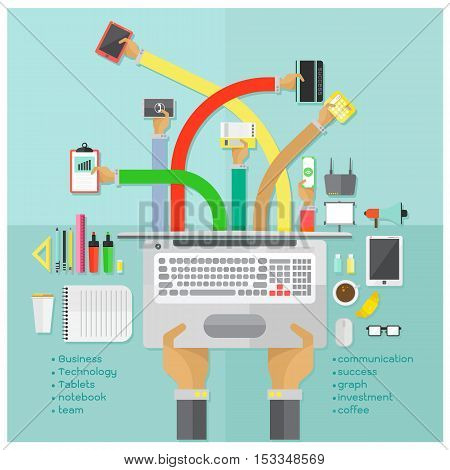 vector Successful teamwork and office equipment on blue background