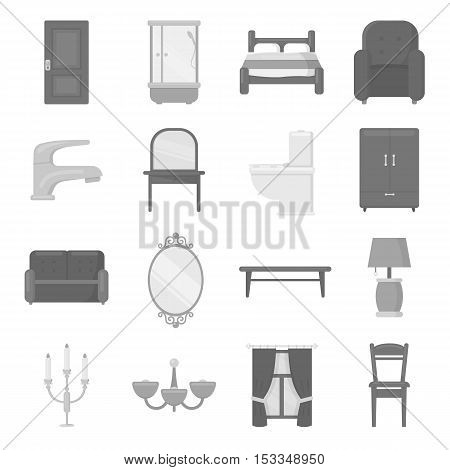 Furniture set icons in monochrome style. Big collection of furniture vector symbol stock