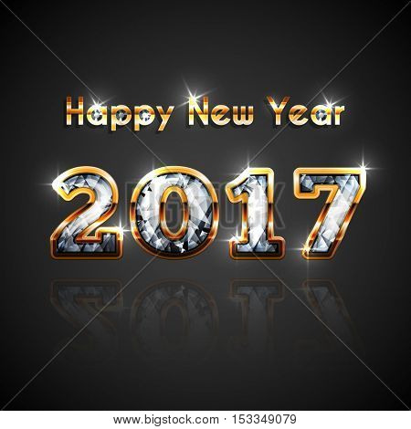 New 2017 year golden and diamond celebration - festive background with