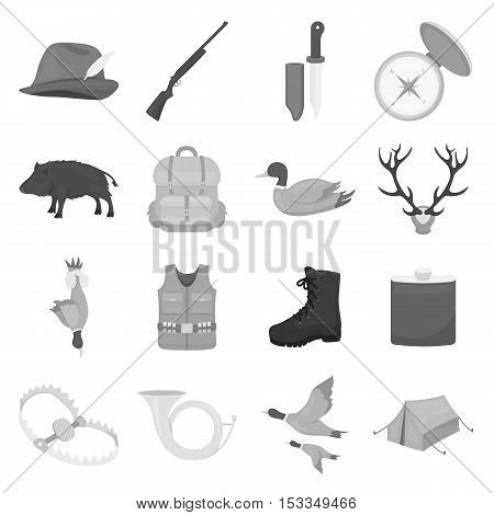 Hunting set icons in monochrome style. Big collection of hunting vector symbol stock
