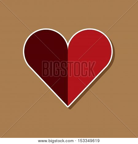 paper sticker on stylish background of Hearts suit