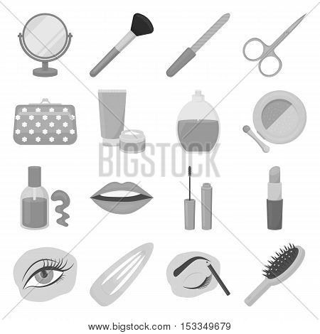 Make up set icons in monochrome style. Big collection of make up vector symbol stock