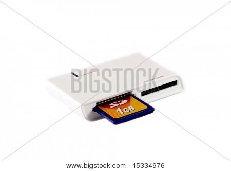 Card reader with 1GB card, isolated on white background