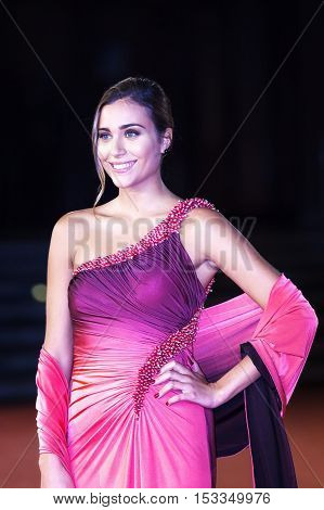 Rome Italy - October 20 2016. Rachele Risaliti winner of Miss Italy 2016 posing on the red carpet at the film festival in Rome. At the Auditorium Parco della Musica.