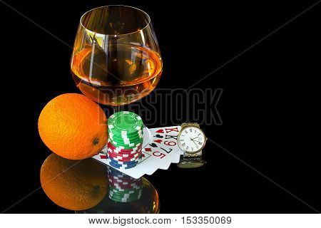 Cards with colorful chips to play poker and snifter with wrist watch