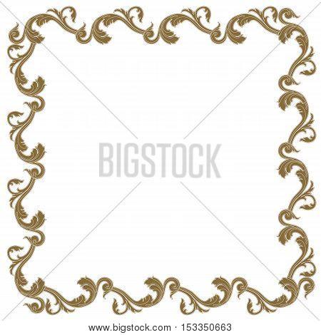 Golden vintage frame, baroque frame, scroll ornament frame, engraving border frame, floral frame, retro frame, pattern frame, antique frame, foliage frame, swirl decorative frame,  filigree frame, calligraphy frame. vector poster