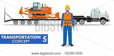 Detailed illustration of auto transporter, dozer and worker on white background in flat style.