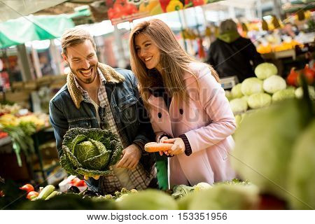 Couple At Food Market