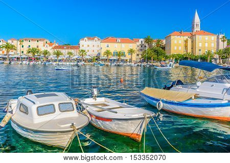 View at colorful picturesque scenic in town Supetar, Island Brac, Croatia.