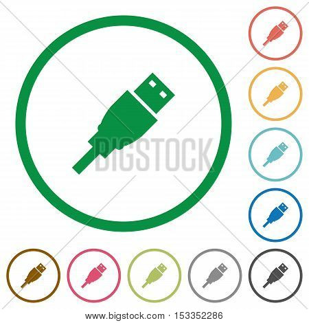 USB plug flat color icons in round outlines