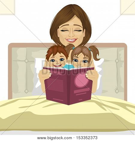 young mother reading tale story to her children sitting together on bed smiling