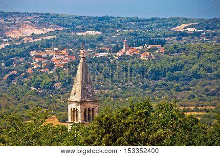 Village of Nerezisca and Donji Humac view Island of Brac Dalmatia Croatia