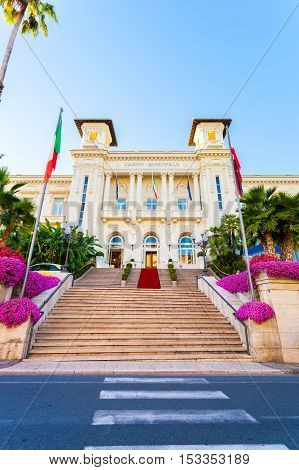 Casino Municipale Sanremo. Beautiful building in the modernist style in the city center.