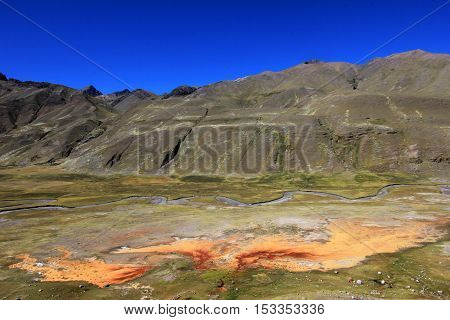 Nice orange sulfur stream in the andean mountains of Peru