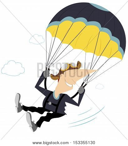 Skydiver. Comic skydiver derives enjoyment from jumping